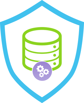 Database icon with a shield around it